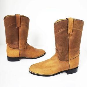 DiamondJ brown tan leather western cowboy boots